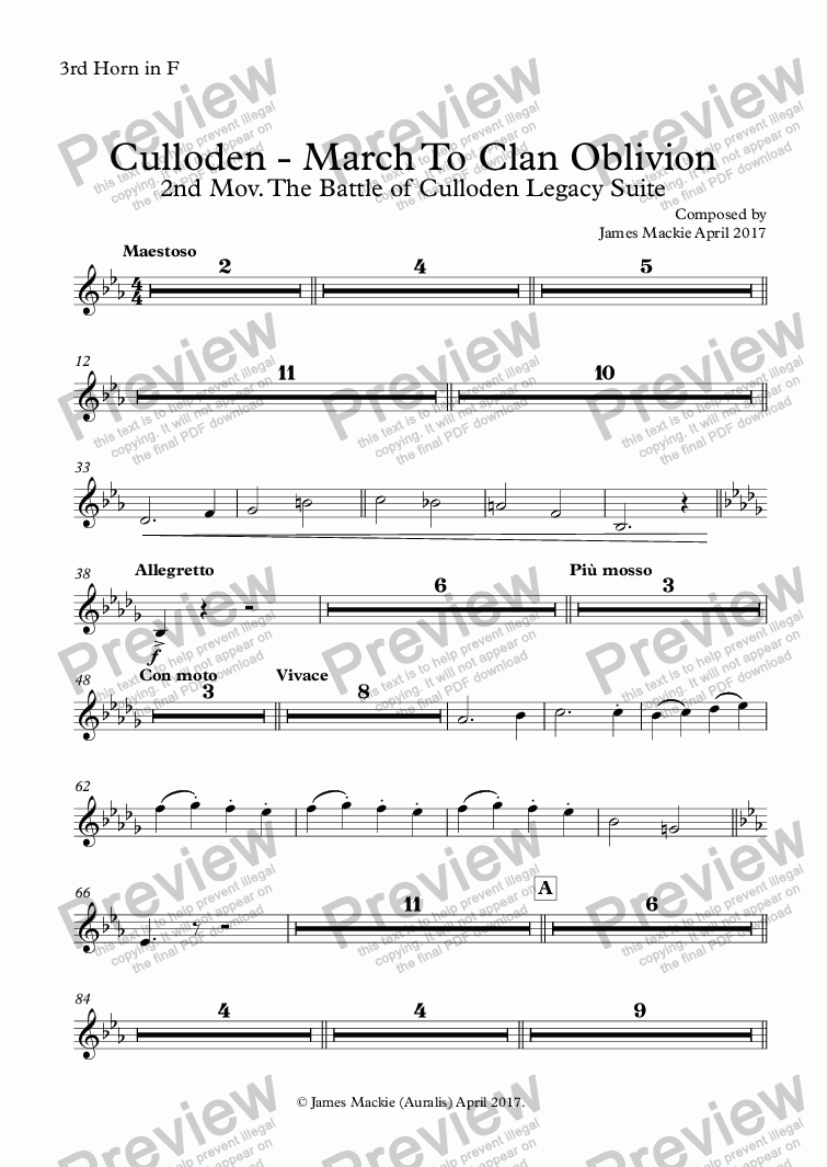 page one of the 3rd Horn in F part from March To Clan Oblivion