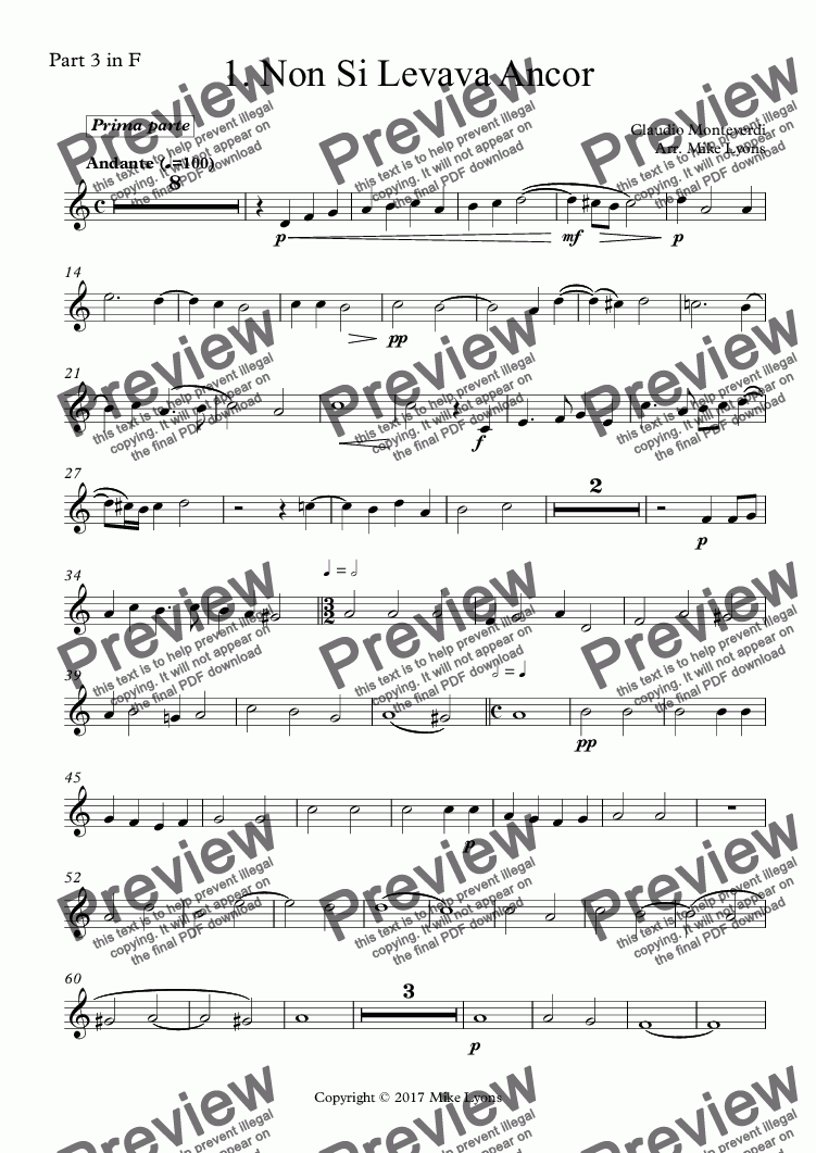 page one of the Part 3 in F part from Brass Quintet - Monteverdi Madrigals Book 2 - 01. Non Si Levava Ancor