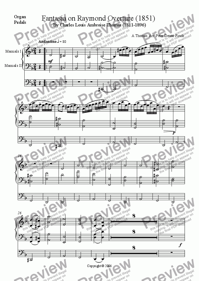 page one of the Organ part from Fantasia on Raymond Overture (1851) Charles Louis Ambroise Thomas (1811-1896)