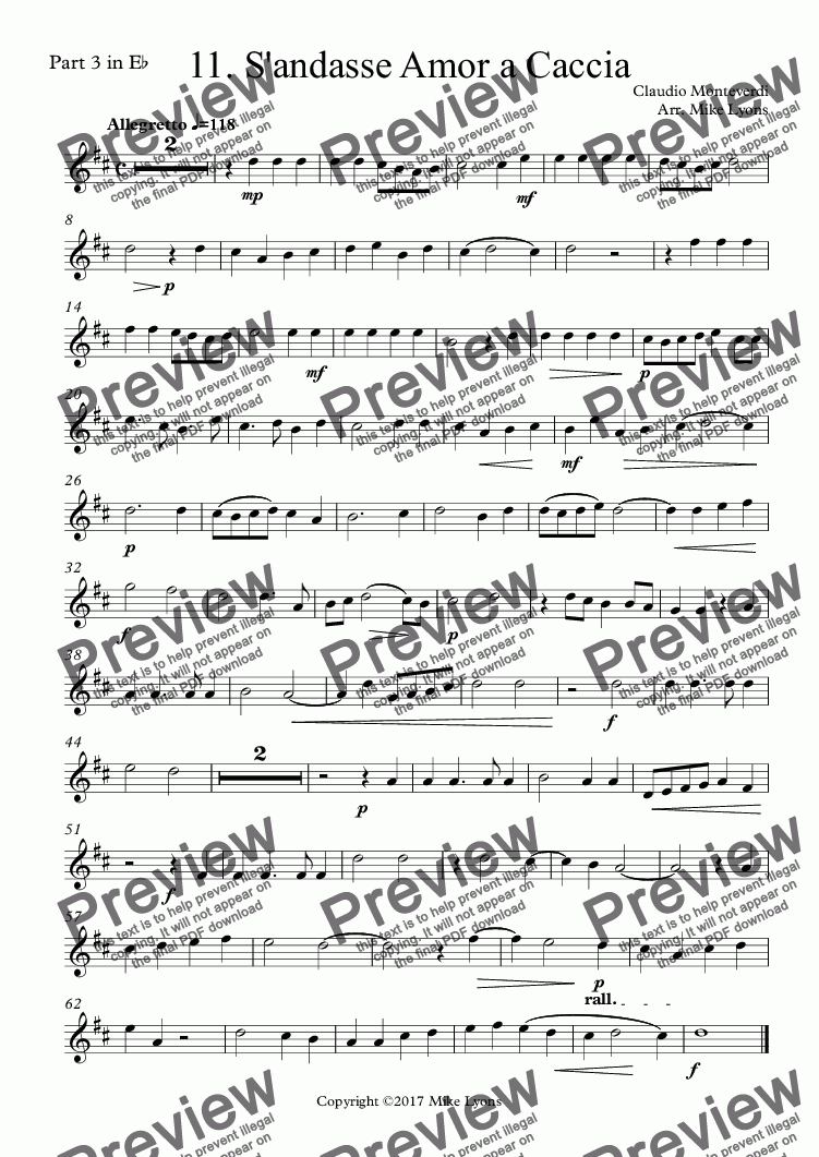 page one of the Part 3 in E^b part from Brass Quintet - Monteverdi Madrigals Book 2 - 11. S'andasse Amor a Caccia