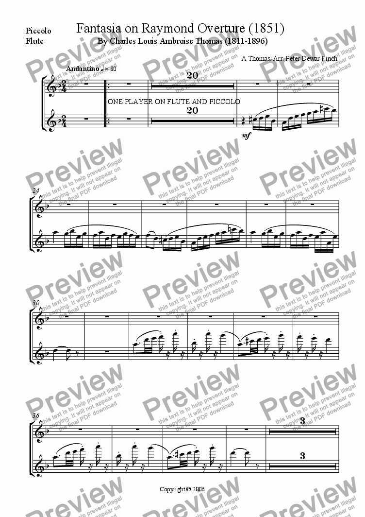 page one of the Flute / Piccolo part from Fantasia on Raymond Overture (1851) Charles Louis Ambroise Thomas (1811-1896)