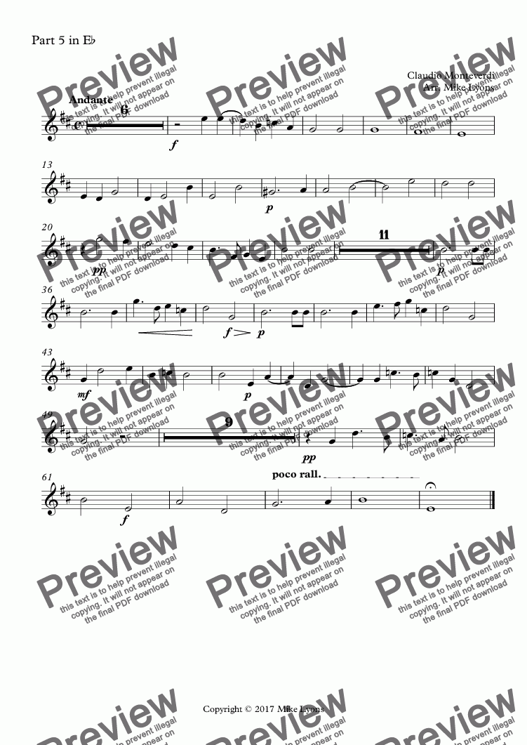 page one of the Part 5 in E^b part from Brass Quintet - Monteverdi Madrigals Book 2 - 13. Se Tu Mi Lassi