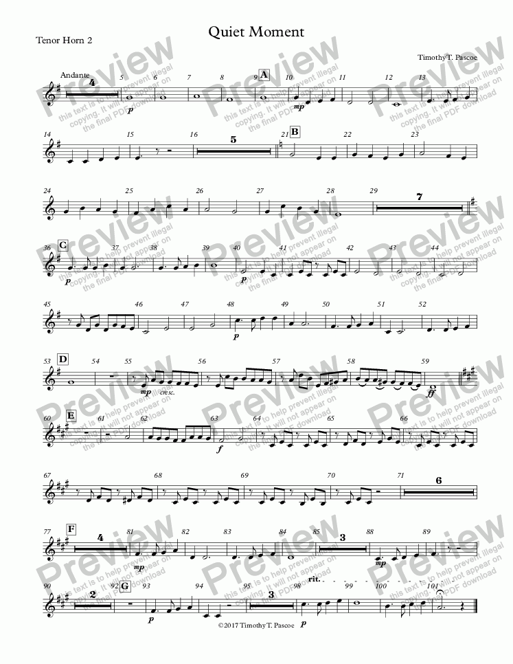 page one of the Tenor Horn 2 part from Quiet Moment