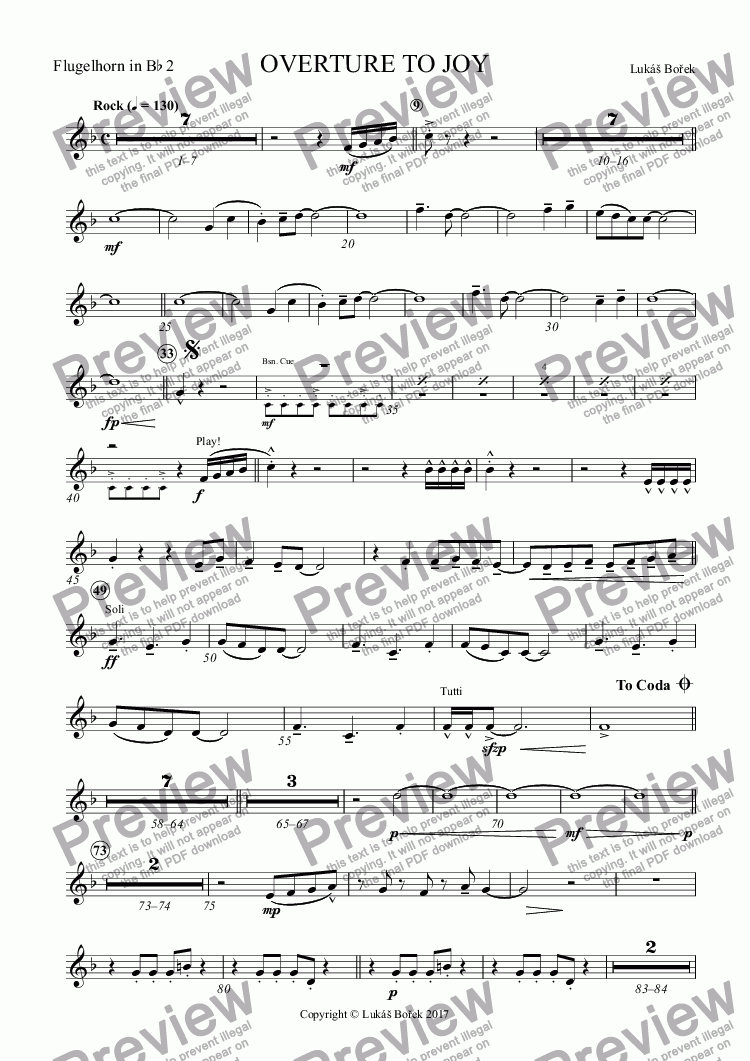 page one of the Flugelhorn in B^b 2 part from OVERTURE TO JOY
