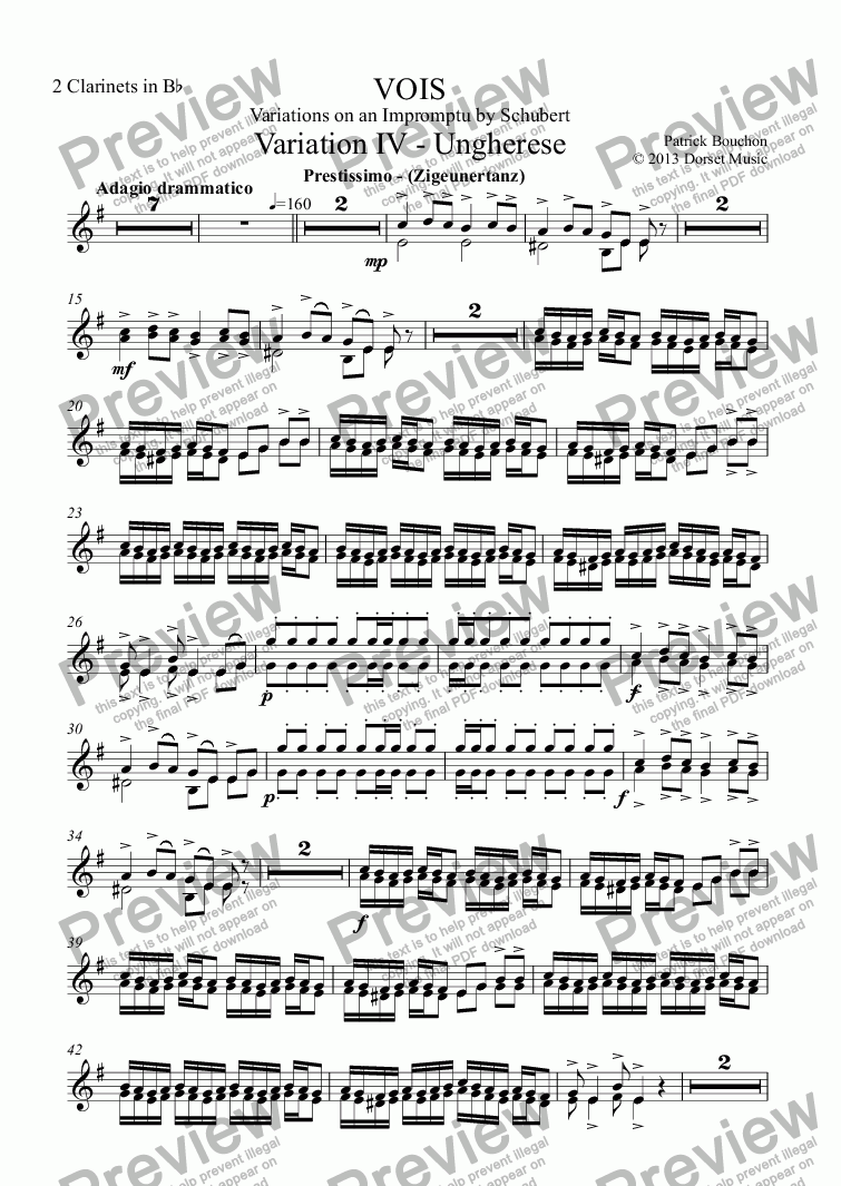 page one of the 2 Clarinets in Bb part from VOIS - Variations on an Impromptu by Schubert - Variation IV - Ungherese