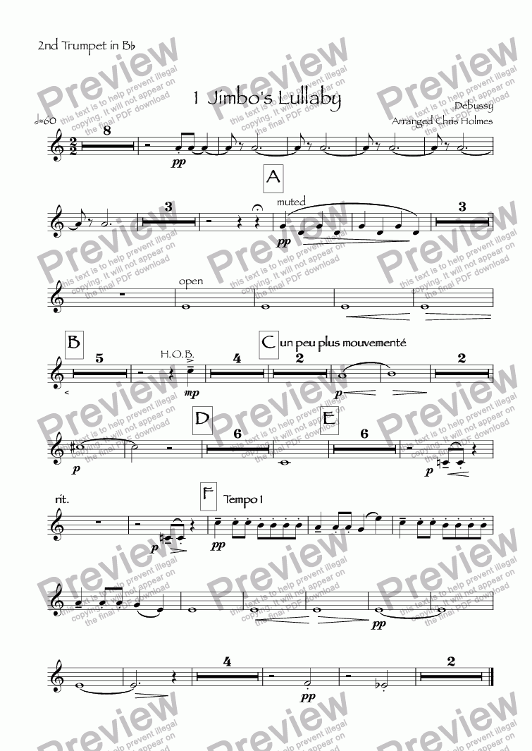 page one of the 2nd Trumpet in B^b part from Children's Corner