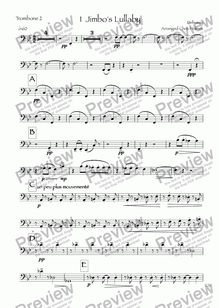 page one of the Trombone 2 part from Children's Corner
