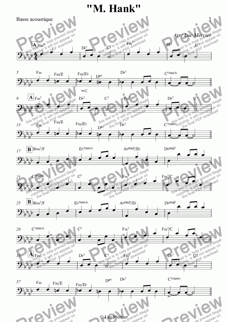 "page one of the Basse acoustique part from ""M. Hank"""