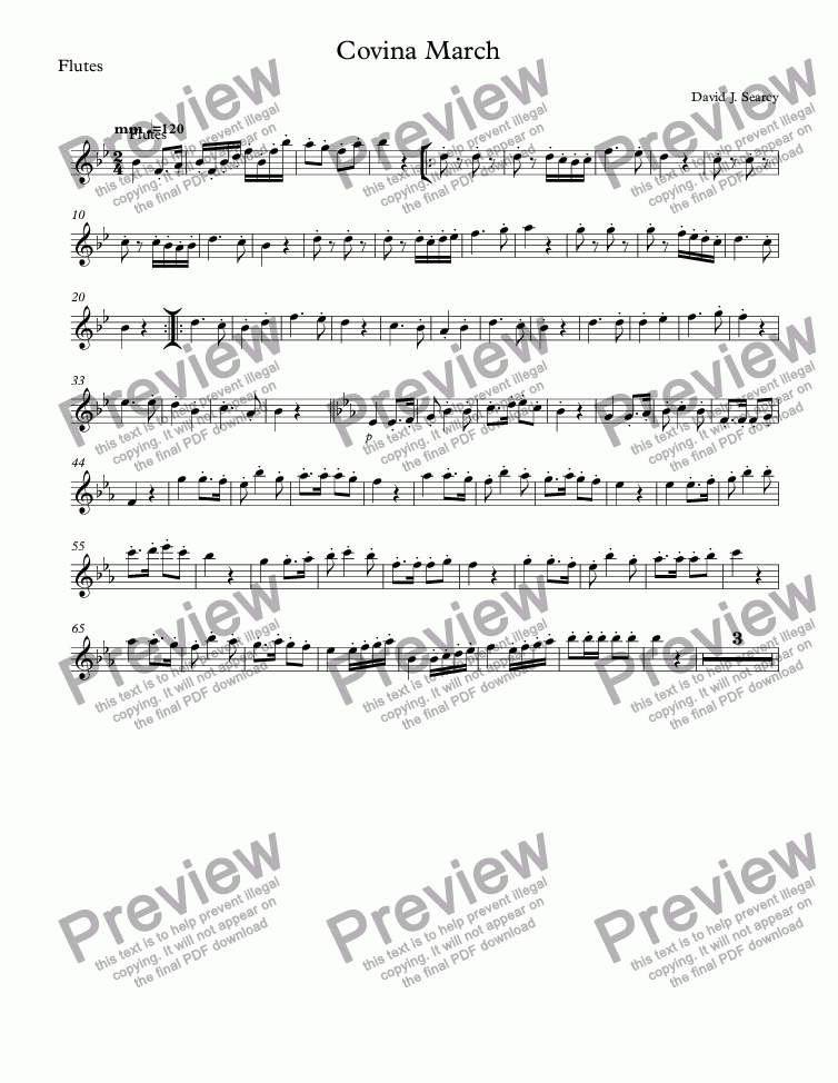 page one of the Flutes part from Covina March