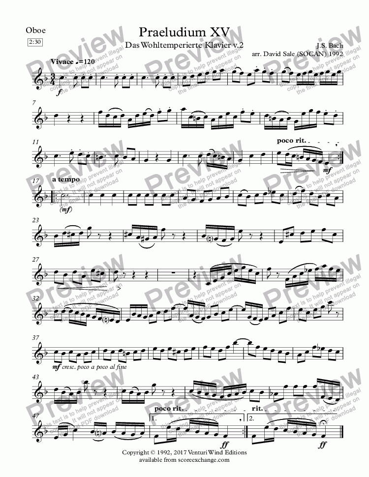 page one of the Oboe part from Praeludium XV (wind quintet)