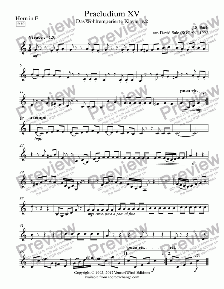 page one of the Horn in F part from Praeludium XV (wind quintet)