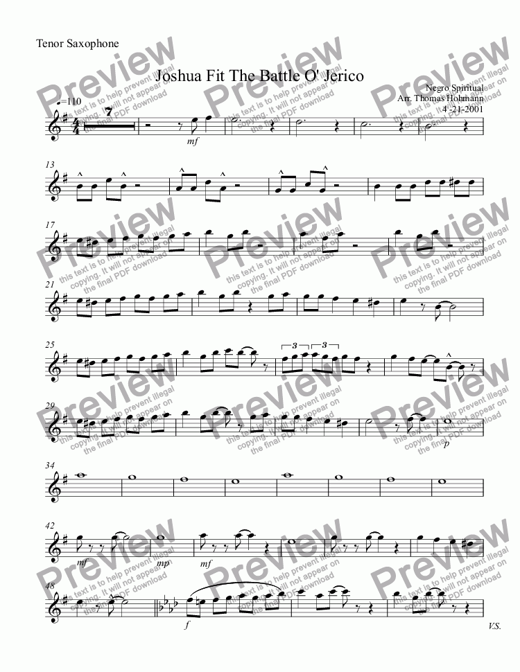 page one of the Tenor Saxophone part from Joshua Fit The Battle O' Jerico