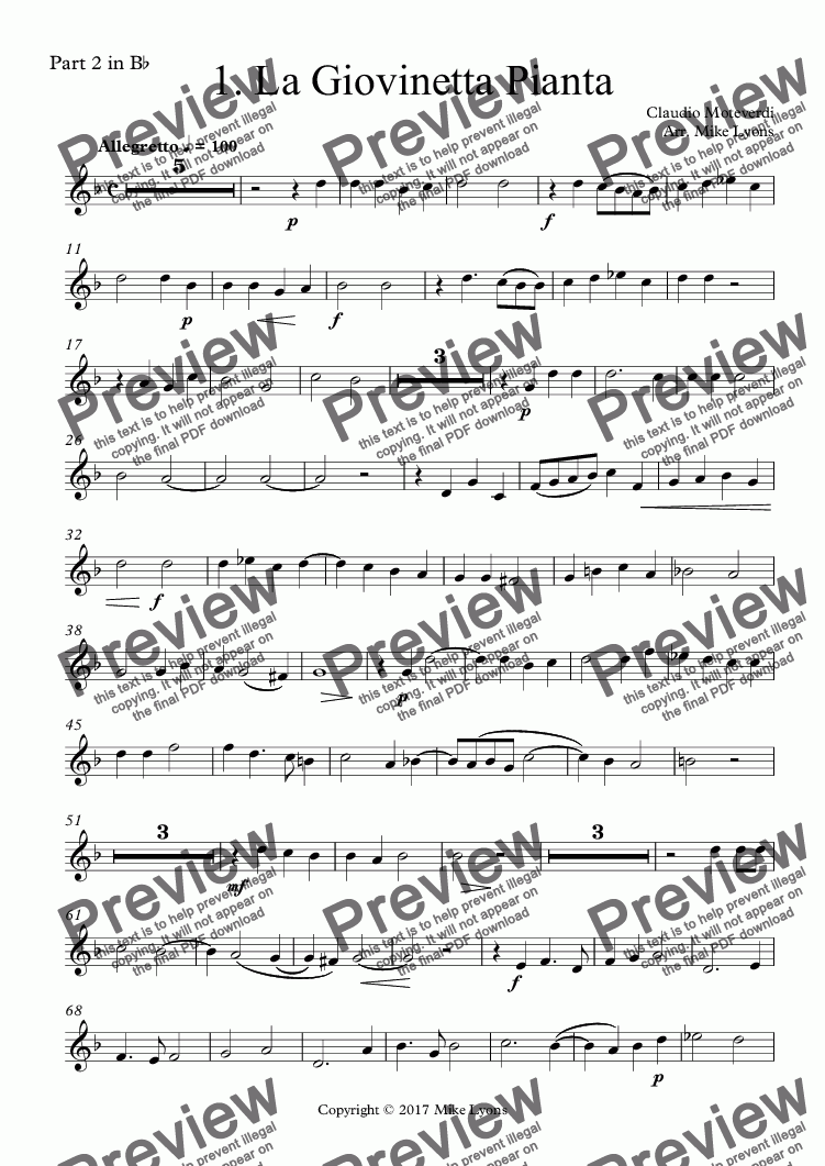 page one of the Part 2 in B^b part from Brass Quintet - Monteverdi Madrigals Book 3 - 01. La Giovinetta Pianta
