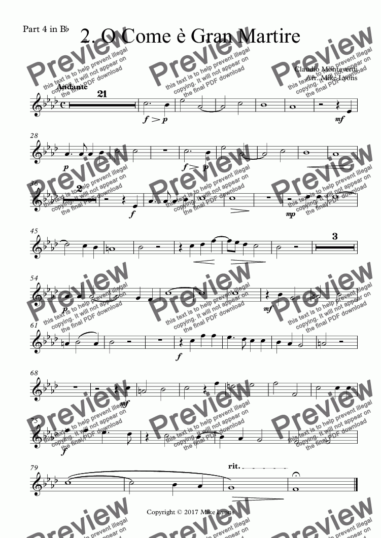 page one of the Part 4 in B^b part from Brass Quintet - Monteverdi Madrigals Book 3 - 02. O Come è Gran Martire