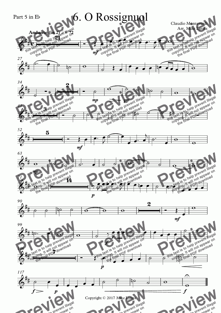 page one of the Part 5 in E^b part from Brass Quintet - Monteverdi Madrigals Book 3 - 06. O Rossignuol
