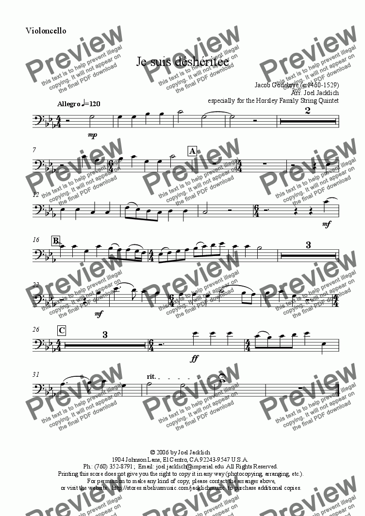 page one of the Cello part from Je suis déshéritée (arranged for String Quintet - 3 violins, viola, and cello)