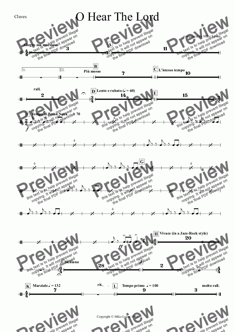 page one of the Claves part from Brass Band - O Hear The Lord