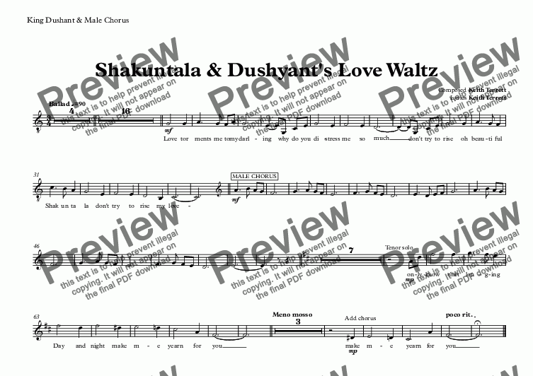 page one of the King Dushant & Male Chorus part from Shakuntala & Dushyant's Love Waltz for Soprano, Tenor, Chorus & Orchestra