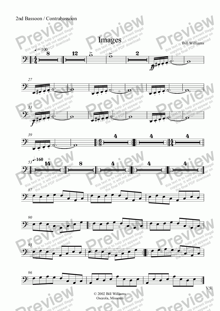 page one of the 2nd Bassoon / Contrabassoon part from Images