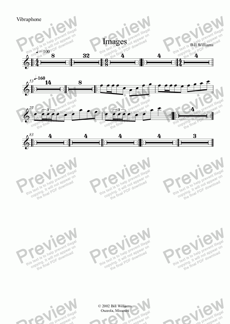 page one of the Vibraphone part from Images
