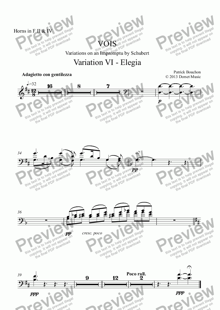 page one of the Horns in F II & IV part from VOIS - Variations on an Impromptu by Schubert - Variation VI - Elegia