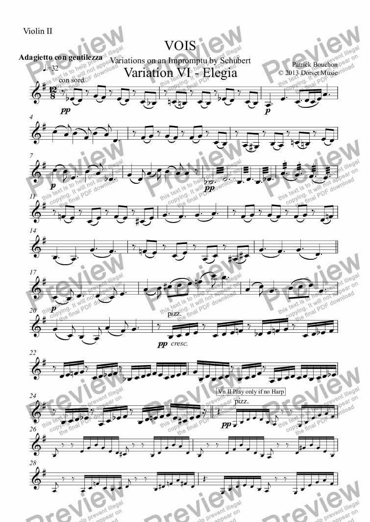 page one of the Violin II part from VOIS - Variations on an Impromptu by Schubert - Variation VI - Elegia