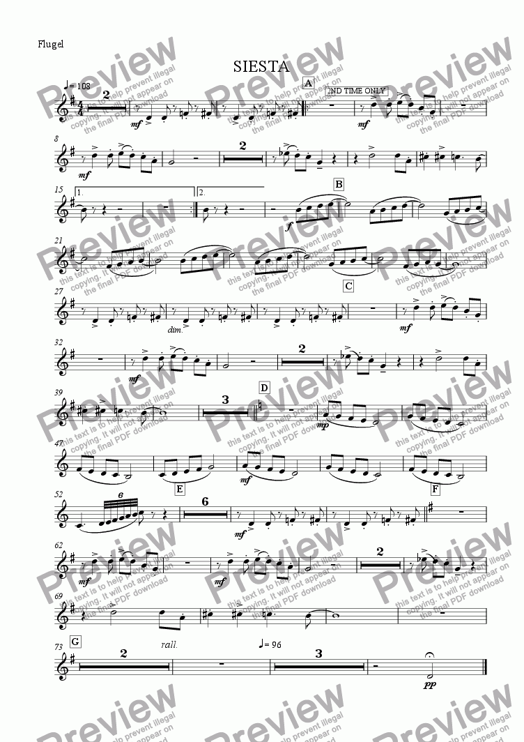 page one of the Flugel part from Siesta