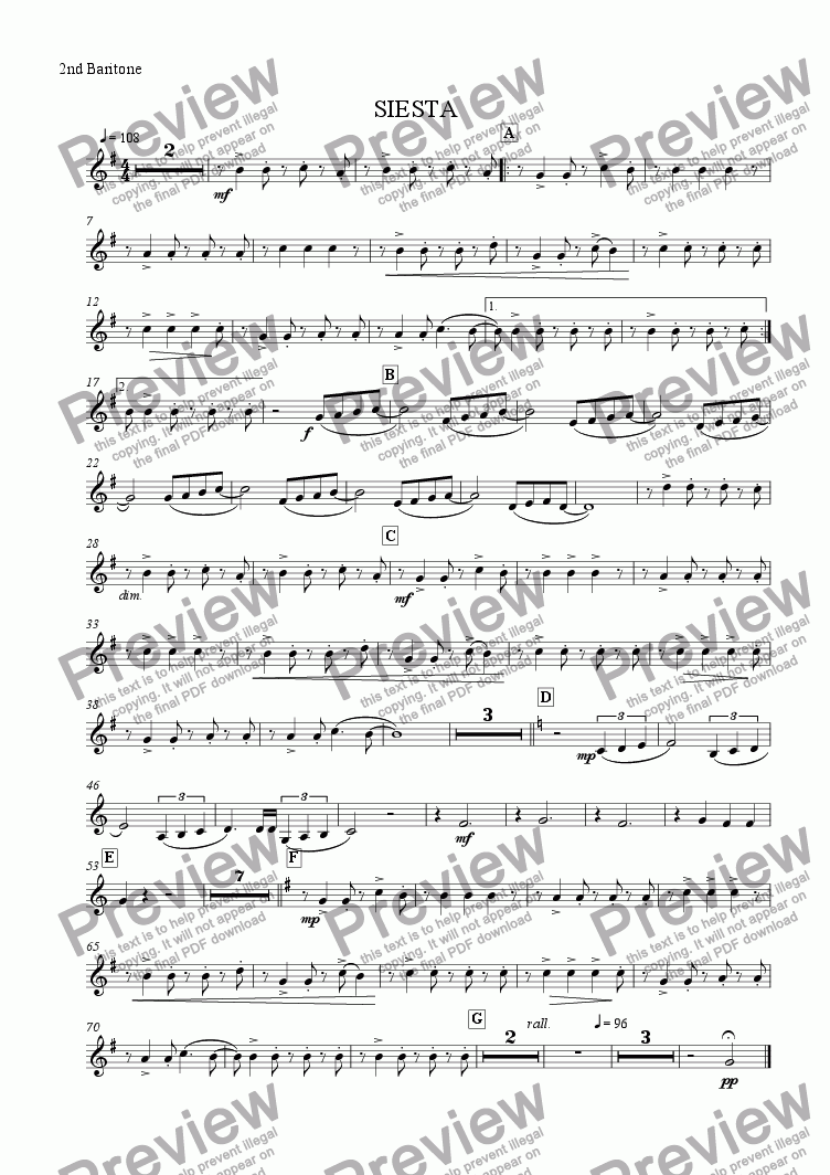 page one of the 2nd Baritone part from Siesta