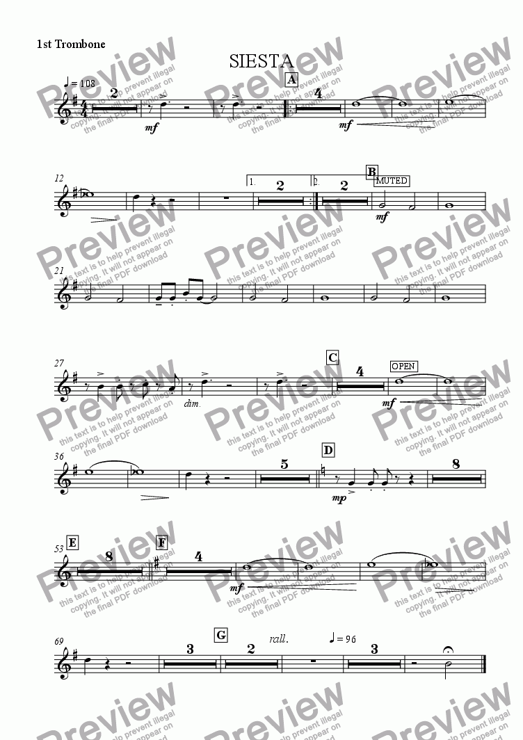 page one of the 1st Trombone part from Siesta