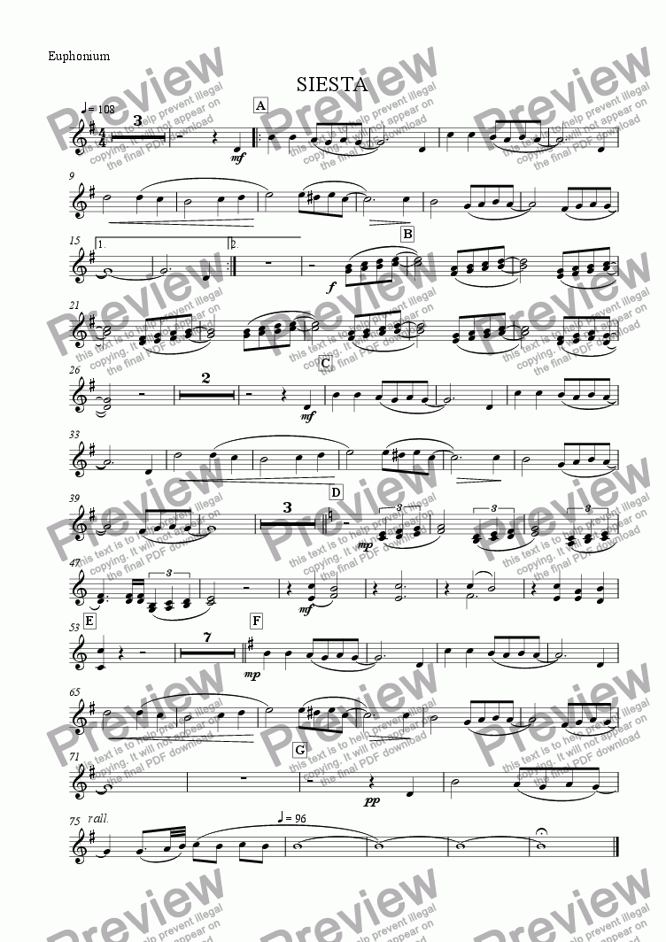 page one of the Euphonium part from Siesta