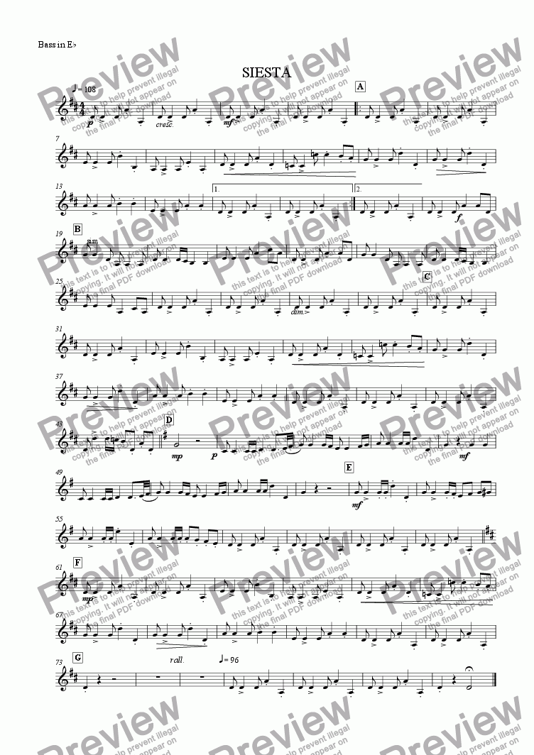 page one of the Eb Bass part from Siesta