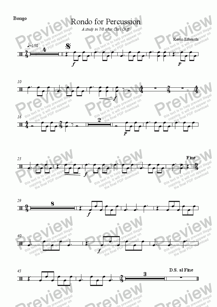 page one of the bongos part from Rondo for Percussion