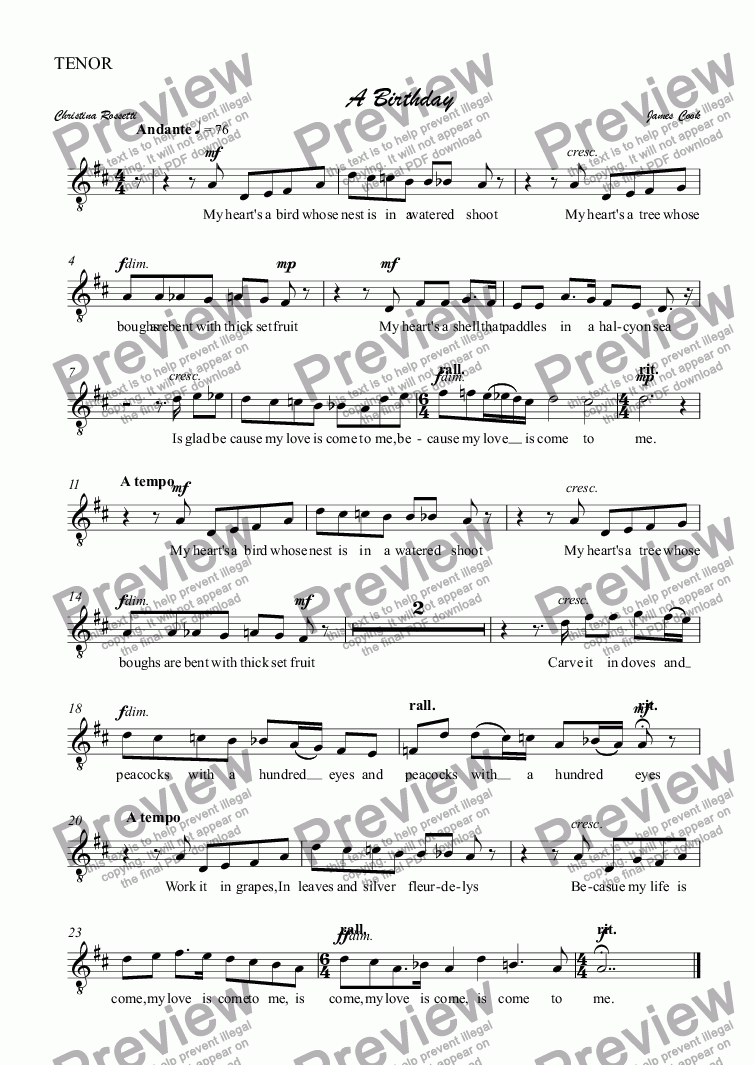 page one of the TENOR part from A Birthday
