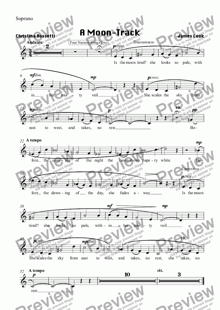 page one of the Soprano part from A Moon-Track