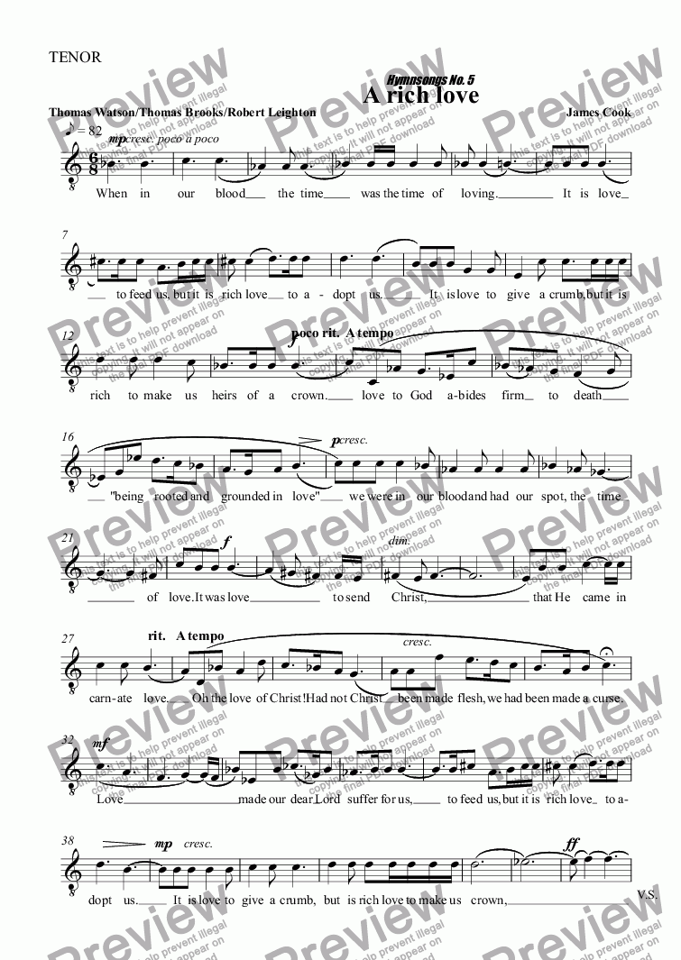 page one of the TENOR part from A rich love