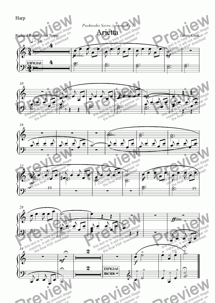page one of the Harp part from Arietta