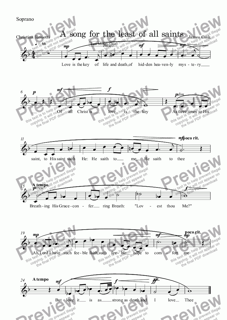 page one of the Soprano part from A song for the least of all saints