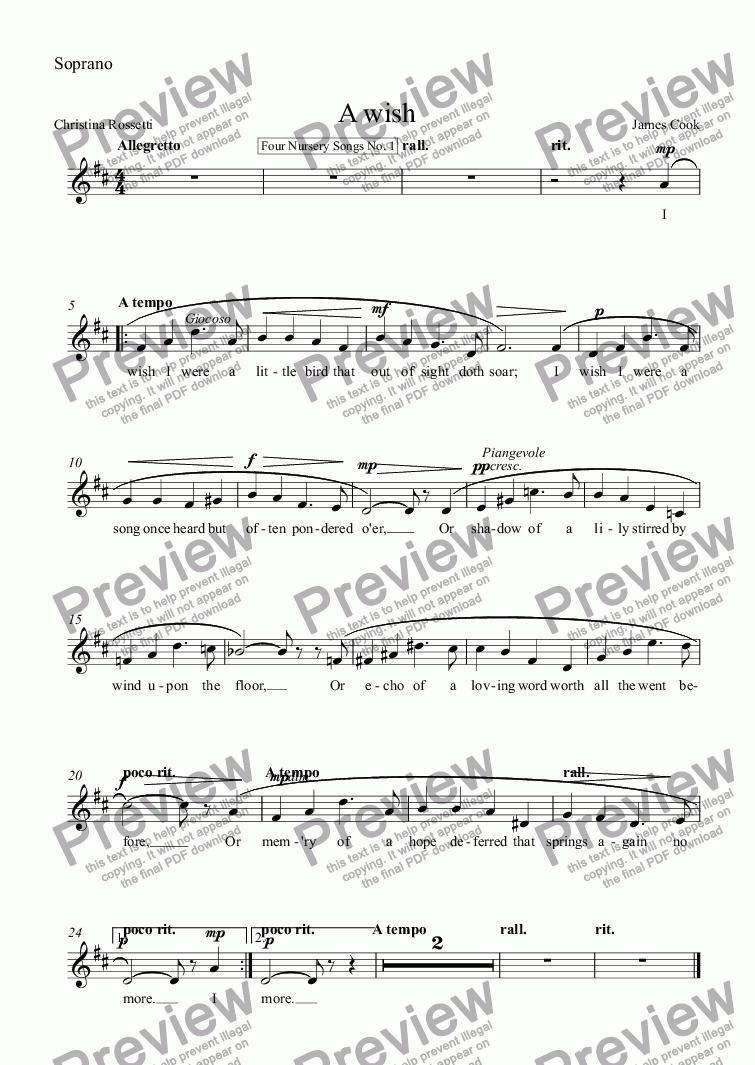 page one of the Soprano part from A wish