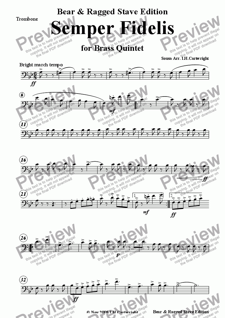 page one of the Trombone part from Semper Fidelis for Brass Quintet