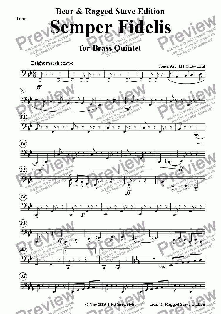page one of the Tuba part from Semper Fidelis for Brass Quintet