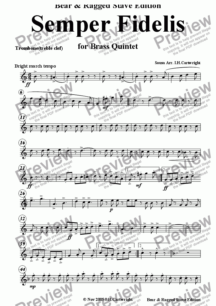 page one of the trombone (treble clef) part from Semper Fidelis for Brass Quintet