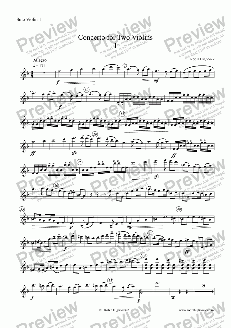 page one of the Solo Violin 1 part from Concerto for Two Violins and Orchestra