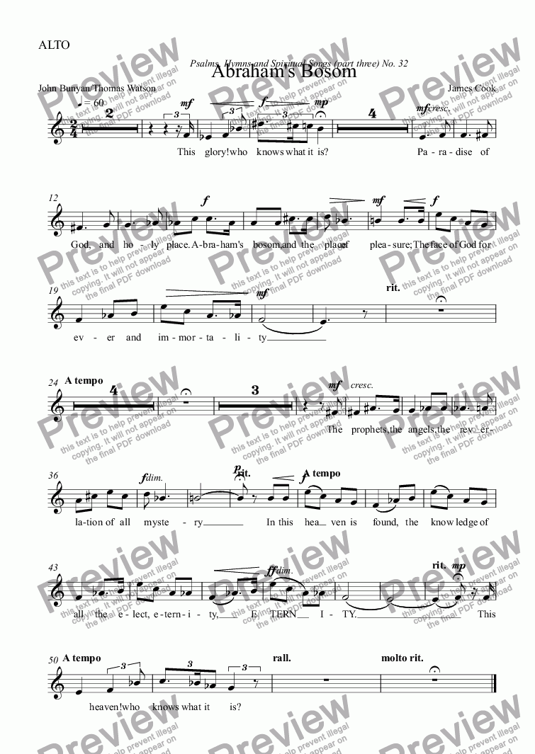 page one of the ALTO part from Abraham's Bosom