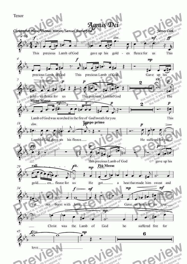 page one of the Tenor part from Agnus Dei