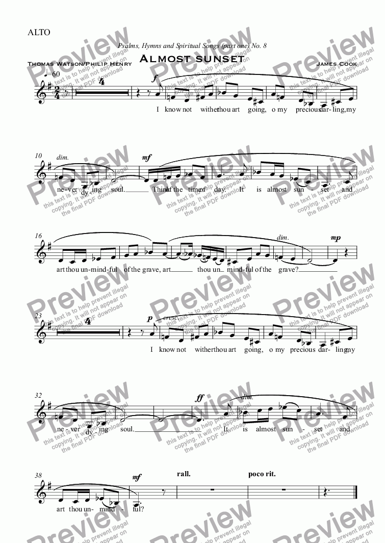 page one of the ALTO part from Almost sunset