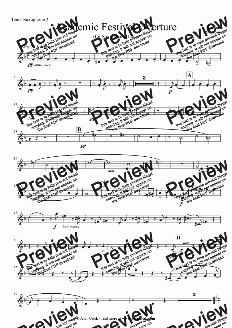 page one of the Tenor Saxophone 2 part from Academic Festival Overture (Saxophone Octet)