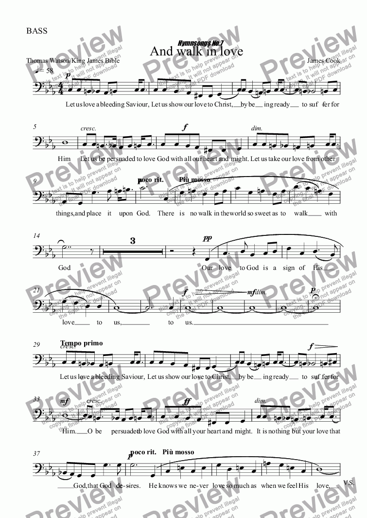 page one of the BASS part from And walk in love