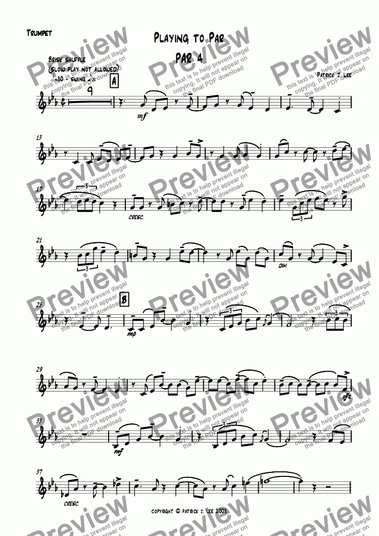 page one of the Trumpet part from Playing to Par