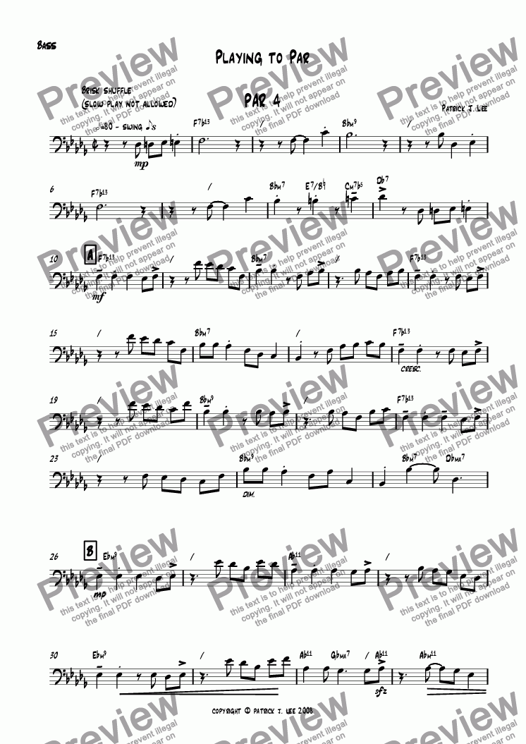 page one of the Bass part from Playing to Par