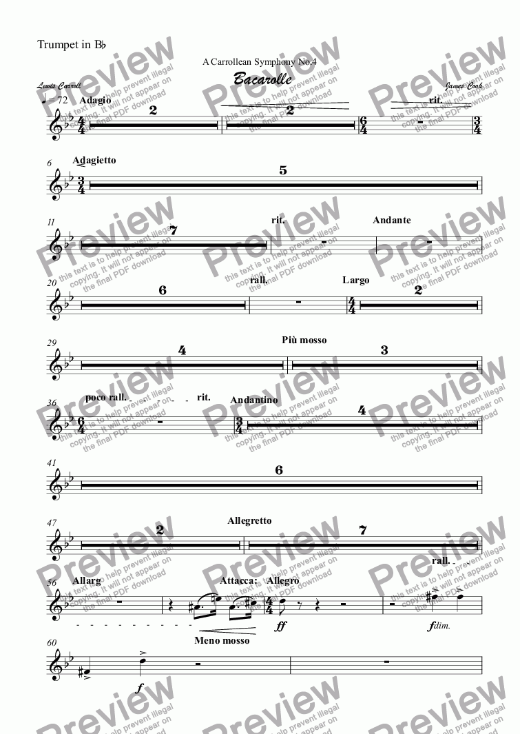page one of the Trumpet in B^b part from Bacarolle